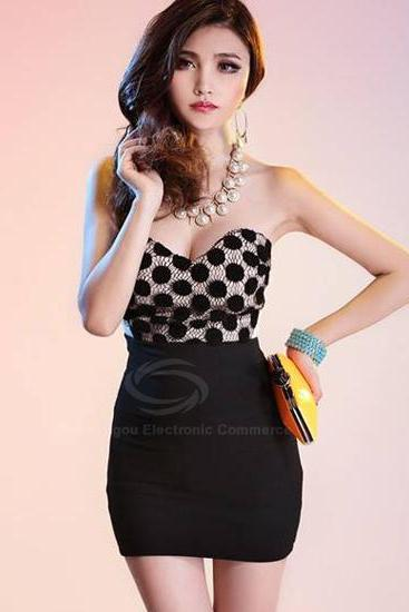 Free Shipping Alluring Strapless Slim Fit Club Dress