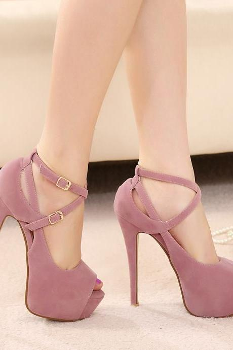 High With Fine With Roman -style Word -style Buckle High-heeled Sandals Fish Head