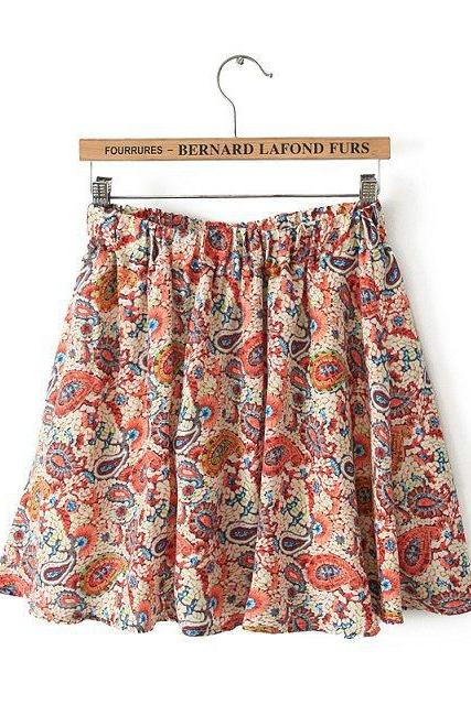 Printed Chiffon Skirt Pleated Skirts Skirt Women