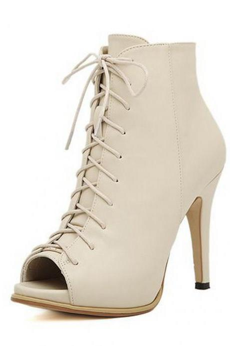 Women's Lace Up Peep Toe Boots
