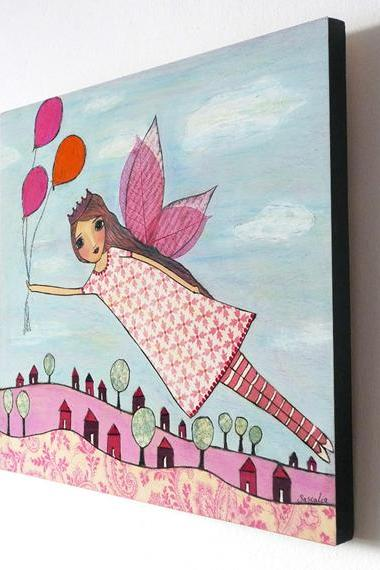 Large Wood Block Print of my Fairy Painting - Fly