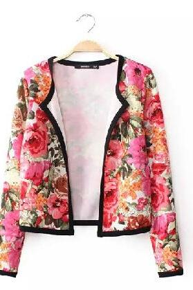 Open-front Floral Print Long Sleeves Jacket