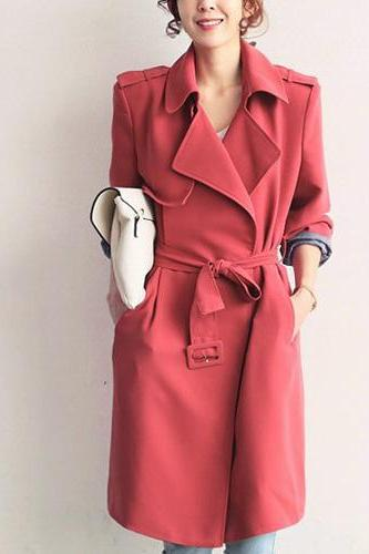 Fashion Pure Color Long Sleeve Turn-Down Collar Long Trench Coat With Waistband