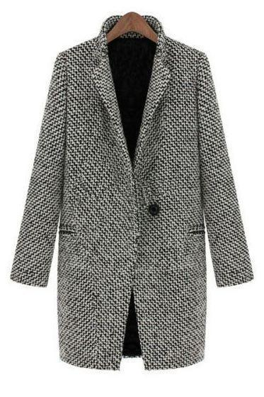 High Quality Wool Jacket Gray Jacket-American European Long Winter Coat For Women
