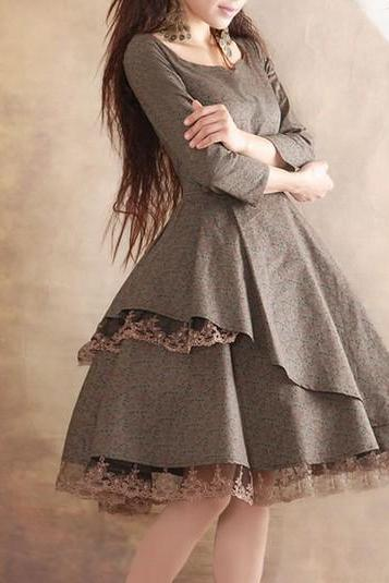 Lace Dress Linen Cotton Dress Women Dress Fashion Dress Long Sleeve Dress
