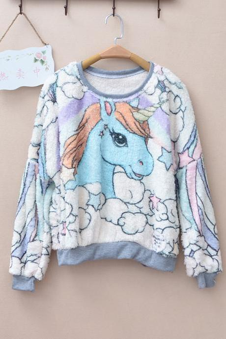 Colorful Clouds & Unicorn Print Fluffy Sweatshirt