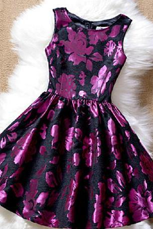 Fashion embroidery round neck sleeveless princess dress #100104AD