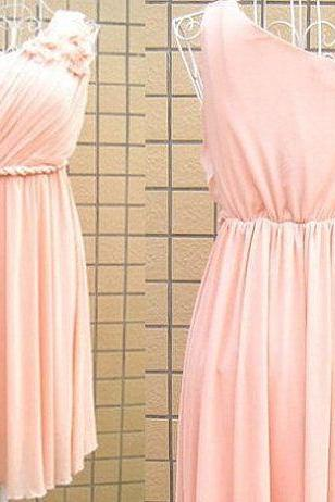 Lovely Pink Knee Length One Shoulder Bridesmaid Dress, Pink Prom Dress, Lovely Homecoming Dress