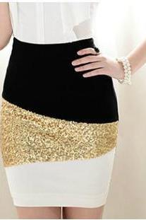 Black And White Mosaic Gold Sequined Skirt A 082602