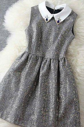 Elegant Beaded Metallic Party Dress