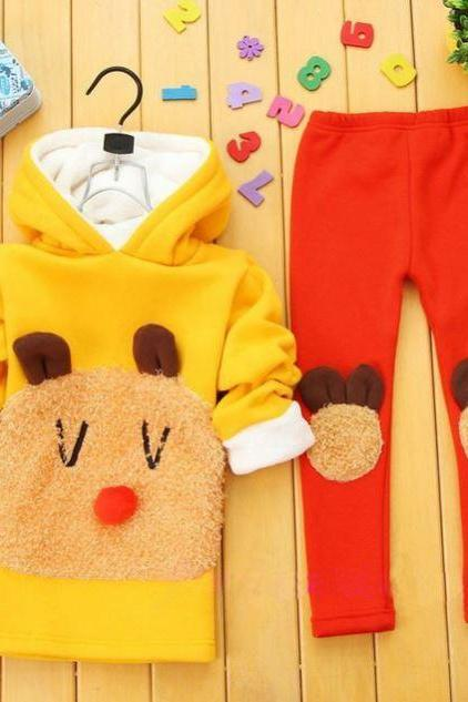 Ready to Ship Yellow Big Sheep Pocket with Matching Pant Leggings with Hood- 5T,6T,7T