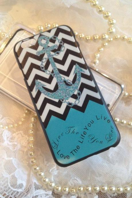 iPhone 6 4.7 Case Colorful Designer Live Life Love Quote Chevron Anchor Hard Shell Cover