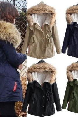 Women's Thicken Fleece Warm Faux Fur Winter Coat Hooded Parka Overcoat Jacket