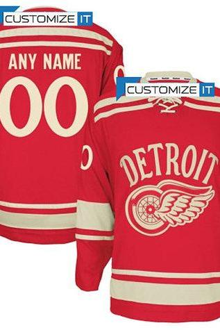 Men's Detroit Red Wings Customized Hockey Jersey,Name And Number Stitched