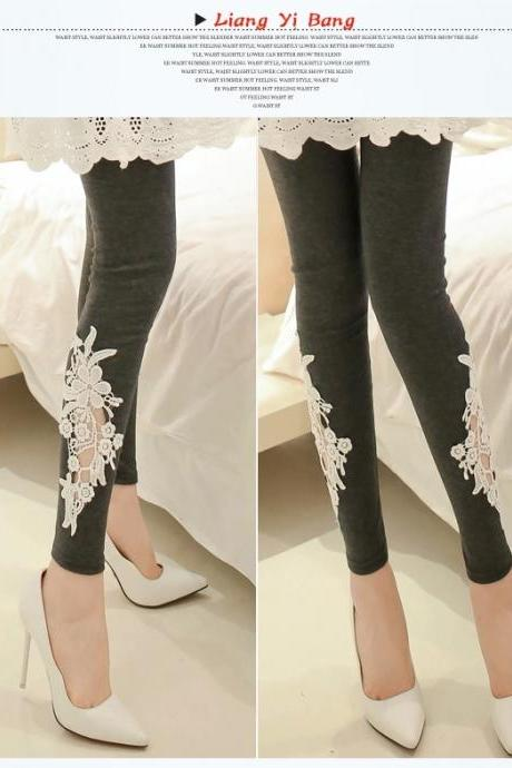 Ms leggings lace female show thin outer wear tight nine minutes of pants bigger sizes thin qiu dong