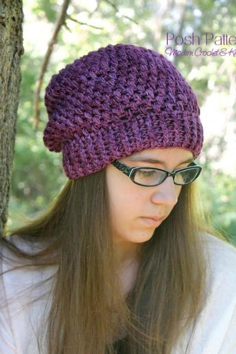 Crochet Pattern - Crochet Slouchy Hat Pattern - Crochet Hat Pattern - Includes Toddler, Child, Adult Sizes - PDF 378