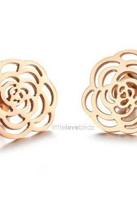 Lovely Hollow Rose Gold Flower Earring
