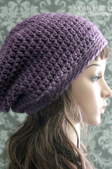 Crochet Pattern - Crochet Slouchy Hat Pattern - Crochet Hat Pattern - Includes Baby, Toddler, Child, Adult Sizes - PDF 119
