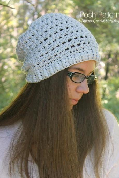 Crochet Pattern - Crochet Slouchy Hat Pattern - Crochet Hat Pattern - Includes Toddler, Child, Adult Sizes - PDF 383