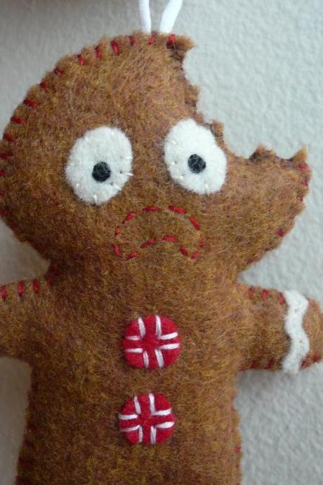 Christmas ornaments - Terrified Gingerbread Man