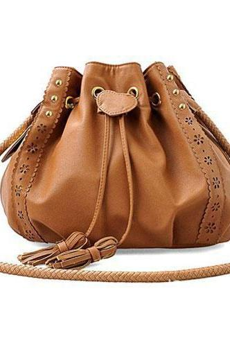 Unique Tassel Lace Bucket Rivet Shoulder Bag