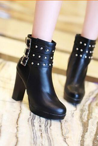 The 2015 European station belt buckle metal Martin boots round thick HEELS SHORT BOOTS comfortable soft studded boots