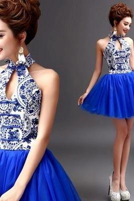 Sexy Neck Hung Small Formal Attire Of Blue And White Porcelain Brief Paragraph Blue Evening Wear Qipao