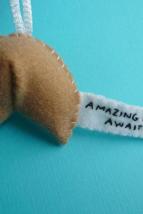 Inspirational Fortune Cookie Ornament - Amazing Adventures Await You