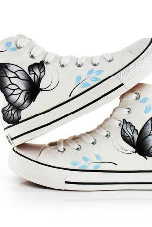 Cute Pink Kawaii Fashion Butterfly Painted Shoes
