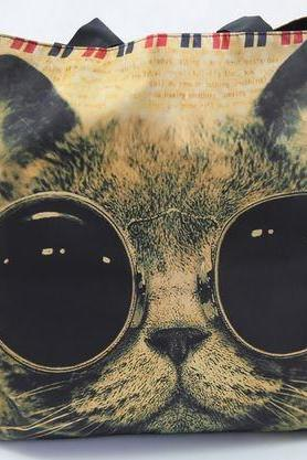 Cat W/ Steampunk Sunglasses Zippered Tote