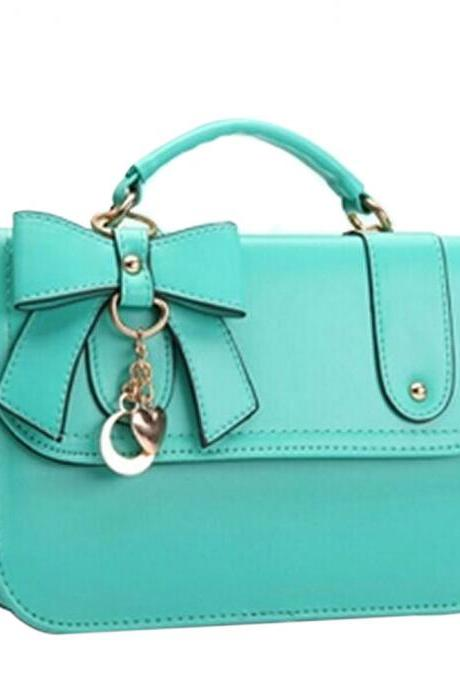 Fashion Bowknot Hardware Pendant Handbag Cross Body Bag