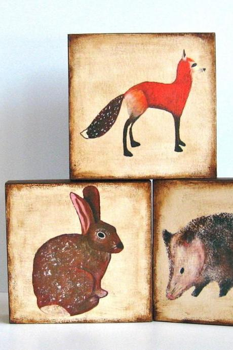 5x5 Art Block Trio- Mix and Match - You choose any 3 designs nature woodland forest animals fox oppossum rabbit brown red tile s