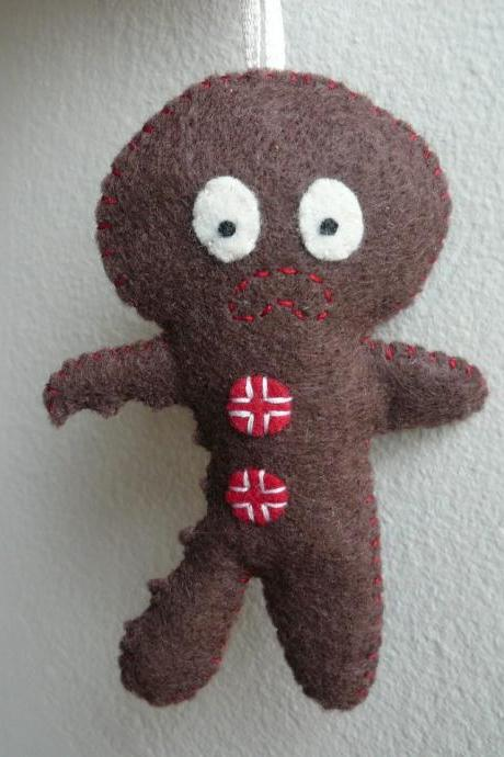 Christmas Ornament - Terrified Gingerbread Man