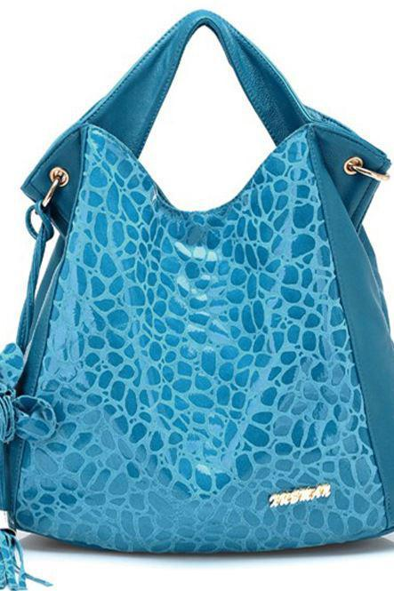 Blue Genuine Leather Bag With Tassel-Blue Leather Bag- Aqua Blue Bag