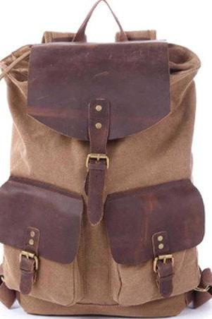 Handmade Leather Canvas Backpacks Khaki Canvas Backpacks Student Canvas Backpack Leisure Packsacks