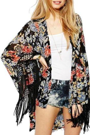 Fashion Floral Three Quarter Sleeve Woman Cardigans