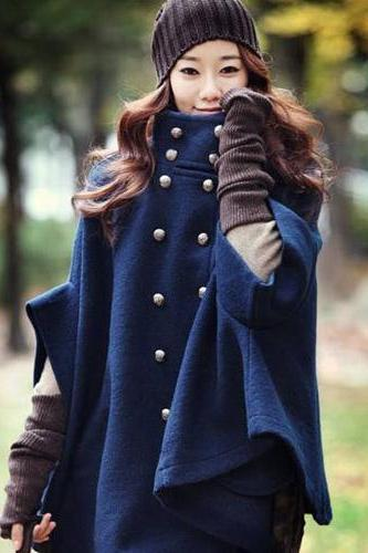Wool Double-Breasted Cloak Cape Coat In Navy Blue