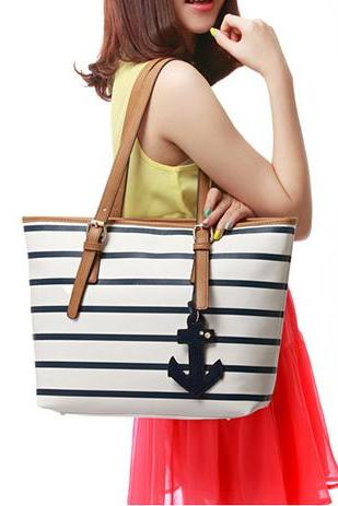 Latest Navy Style Strip Print Anchor Handbag