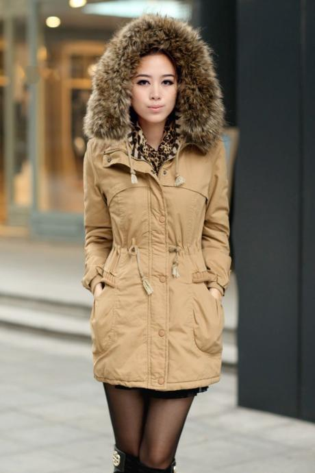 Ochre Womens Winter Coats Faux Fur Lining Parka With Fur Hood