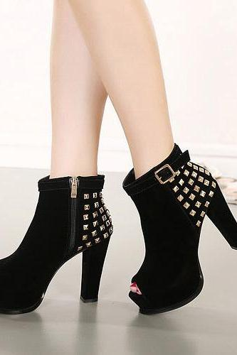 Fashion Rivets Peep Toe Thick High-Heeled Ankle Boots Booties