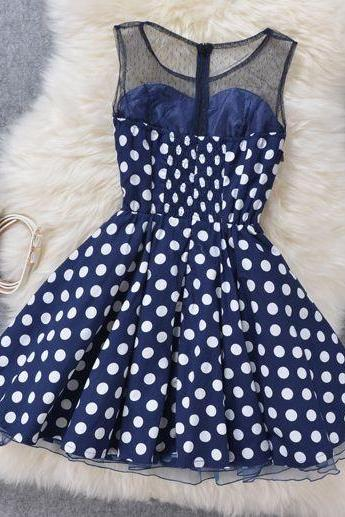 Pierced Polka Dot Slim Organza Dress