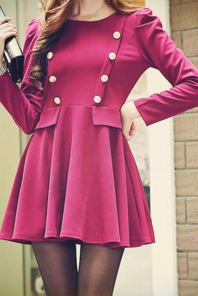 Pretty Autumn Flattering Dress Wine Red Autumn Dress