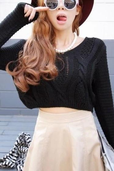 Retro Sexy Exposed Navel Pullover Sweater