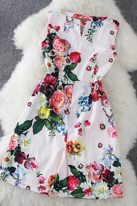 Rose Printed Sleeveless Dress Jdc