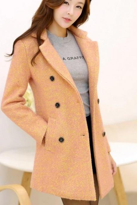 Turn-Down Collar Long Sleeve Double Breasted Casual Women Coat For Autumn&Winter Coat Outerwear