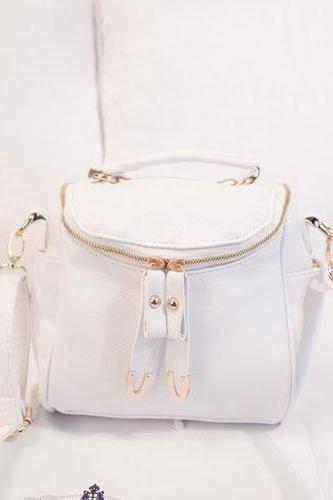 Cool Cute Fashion Pure Message Bag Crossbody Bag - White