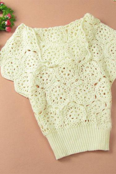 Elegant Floral Crochet Hollow Out Batwing Sleeve Shirt - White