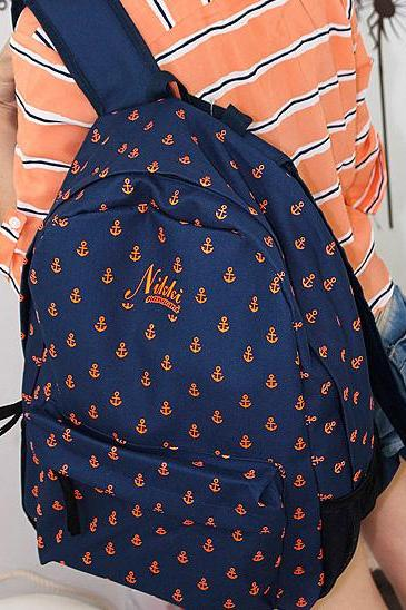 Latest Fashion Navy Style Anchor Print Backpack - Dark Blue