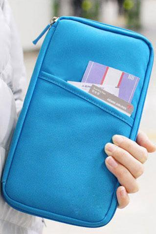 Pure Passport Tickets Function Travelling Clutch Bag - Sky Blue
