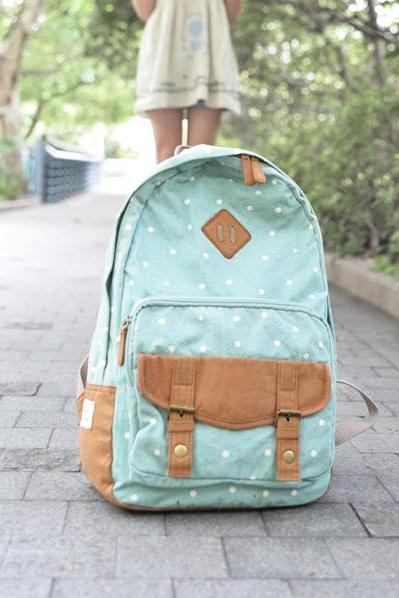 Sweet Cute White Tiny Dot Canvas Backpack - Light Green